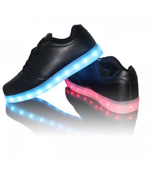 Mens Light Up LED Shoes USB Sneakers With Laces Woven | Black Low Top - On My Wheels