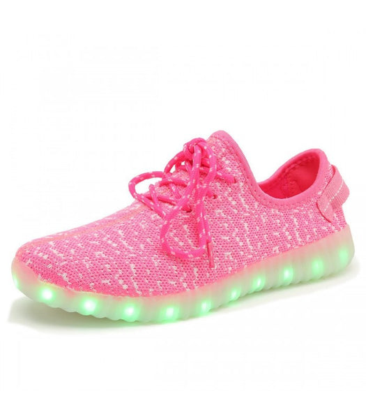 Mens Light Up LED Shoes USB Sneakers With Laces Woven | Pink Mesh