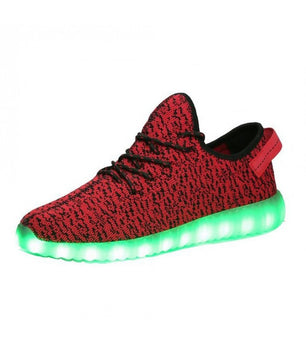 Mens Light Up LED Shoes USB Sneakers With Laces Woven | Red Mesh - On My Wheels