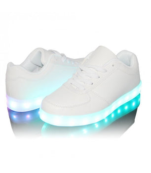 Mens Light Up LED Shoes USB Sneakers With Laces Woven | White Low Top - On My Wheels