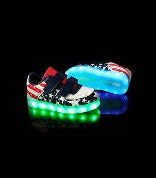 Toddlers Velcro Sneakers LED Light Up Shoes With USB Charger | USA Flag Low Top - On My Wheels