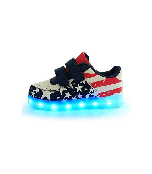 Toddlers Velcro Sneakers LED Light Up Shoes With USB Charger | USA Flag Low Top