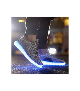 Womens Light Up LED Shoes USB Sneakers With Laces Woven Slip On | Grey Low Top - On My Wheels