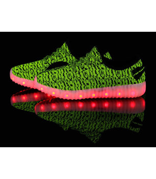 Womens Light Up LED Shoes USB Sneakers With Laces Woven Slip On | Green Low Top - On My Wheels