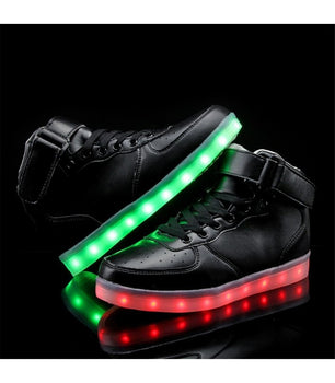 Womens Light Up LED Shoes Luminous Sneakers Laces | Black High Top - On My Wheels