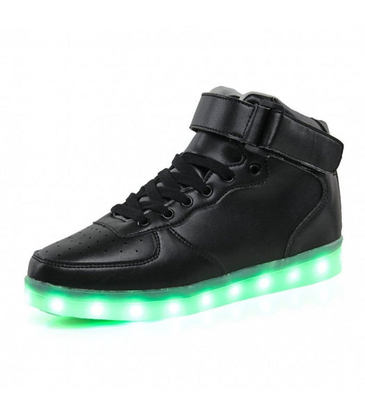 Womens Light Up LED Shoes Luminous Sneakers Laces | Black High Top