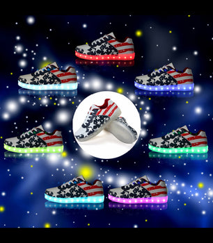 Womens Light Up LED Shoes Sneakers With Laces | USA Flag Low Top - On My Wheels