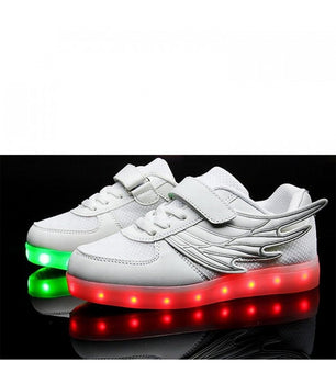 Kids Angel Wing Led Shoes Sneakers | White Low Top - On My Wheels