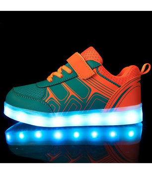 Kids Led Sneakers Light Up Shoes USB Charge | Blue - On My Wheels