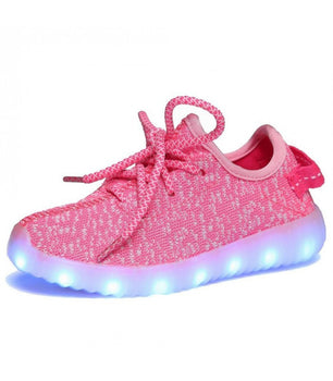 Kids Led Sneakers USB Charger Pink
