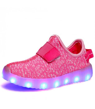 Toddlers Strap Led Sneakers Light Up Shoes With USB Charger | Pink Mesh - On My Wheels
