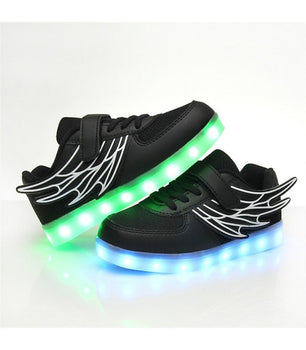 Toddlers Angel Wing Led Shoes Sneakers | Black Low Top - On My Wheels