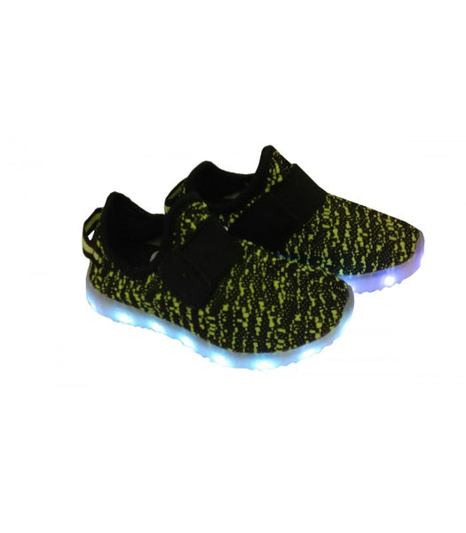 Toddlers Strap Led Sneakers Light Up Shoes USB Charger | Green Camo Mesh
