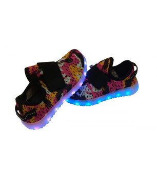 Toddlers Strap Led Sneakers Light Up Shoes USB Charger | Pink Camo Mesh - On My Wheels