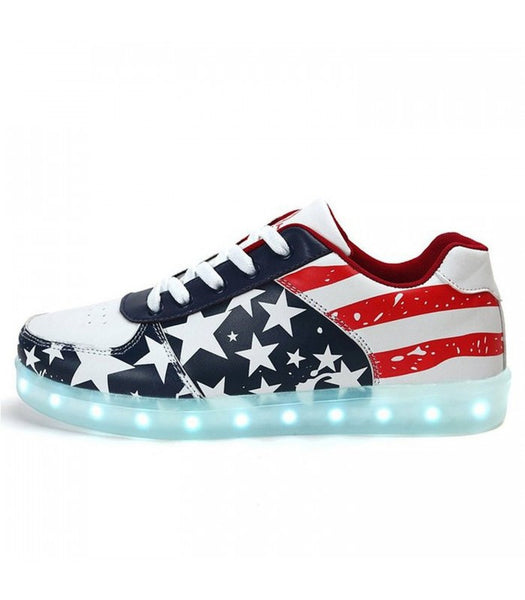 Womens Light Up LED Shoes Sneakers With Laces | USA Flag Low Top