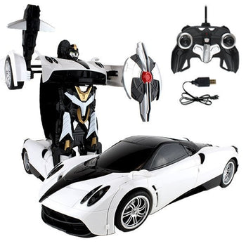 White Remote Control Pagani Maroon Car Transforming Autobot - On My Wheels