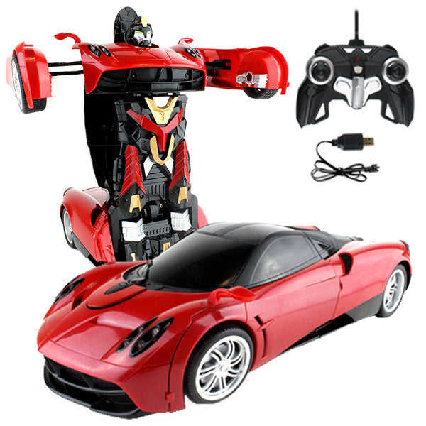 Red Robot Remote Control Pagani Maroon Car Transforming Autobot