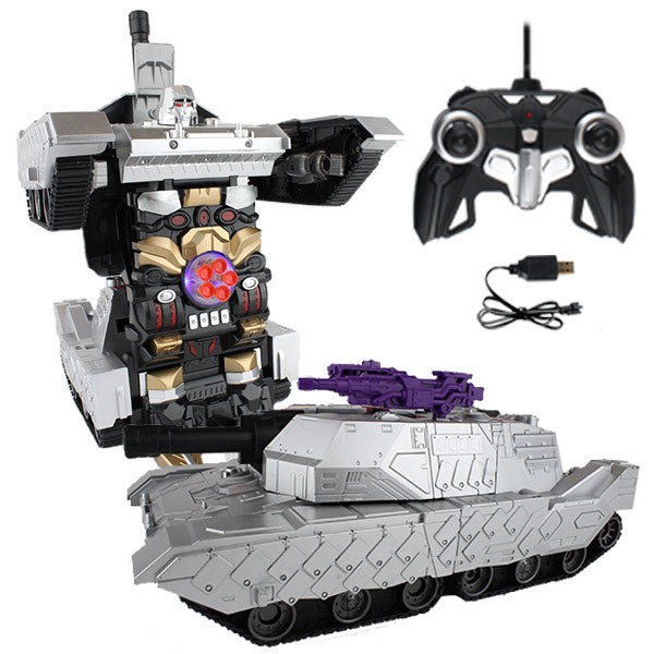 Silver Robot Tank Remote Control Transforming Autobot