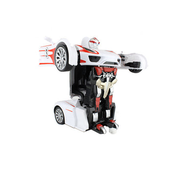 White Robot Remote Control Porsche Car Transforming Autobot - On My Wheels