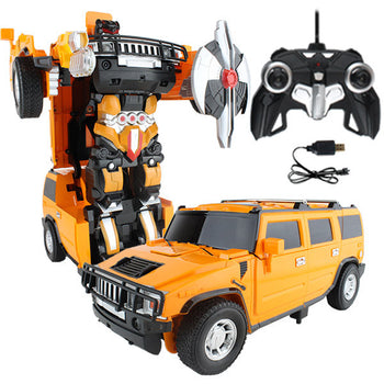 Yellow Robot Remote Control Hummer Car Transforming Autobot - On My Wheels