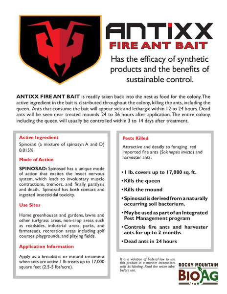 antixx fire ant harvester ant bait killer ready to use information sheet rocky mountain bioag