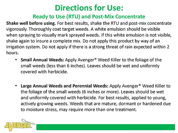 Avenger Organic Weed Control Killer Ready-To-Use (RTU) Directions for Use: Ready to Use (RTU) and Post-Mix Concentrate - Rocky Mountain Bio-Ag