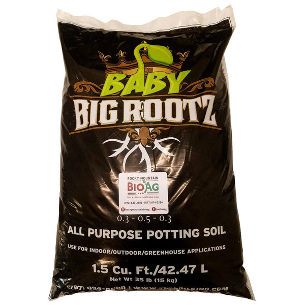 the soil king baby big rootz bag front 1.5 cubic foot rocky mountain bio ag