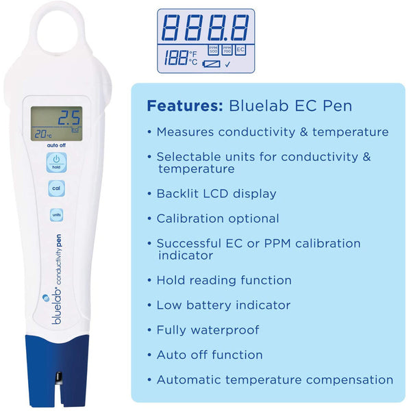 bluelab conductivity pen with automatic temperature compensation info card rocky mountain bioag