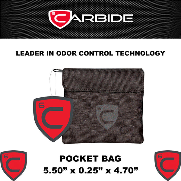 CARBIDE Pocket Bag Stash Bag Odor Control Carrying Case With Dimensions - Rocky Mountain Bio-Ag