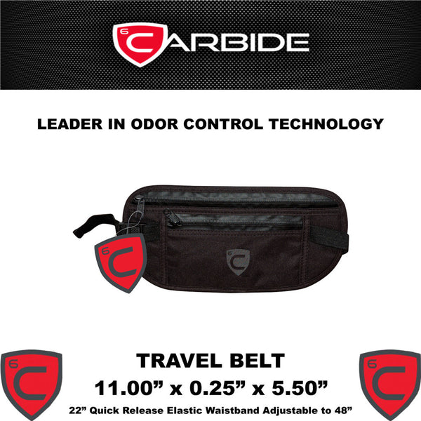 CARBIDE Travel Belt Stash Bag Odor Control Carrying Case With Dimensions - Rocky Mountain Bio-Ag