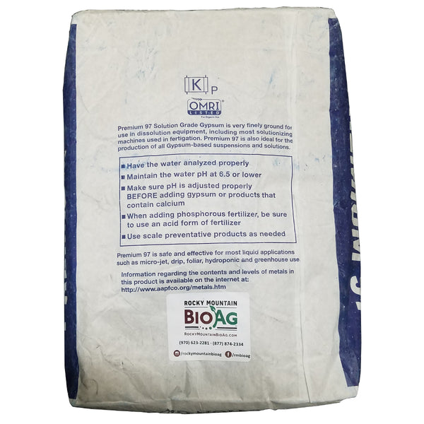 premium 97 solution grade gypsum calcium sulfate diamond k 50 pound bag back - rocky mountain bioag