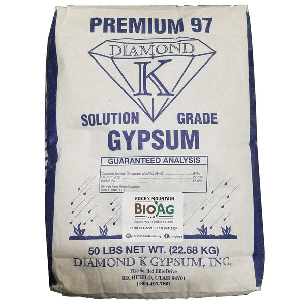 premium 97 solution grade gypsum calcium sulfate diamond k 50 pound bag front - rocky mountain bioag