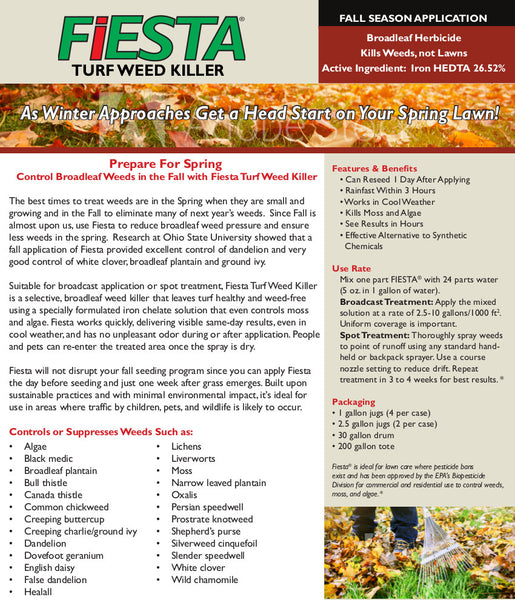 fiesta selective post emergent turf weed killer fall fact sheet rocky mountain bioag