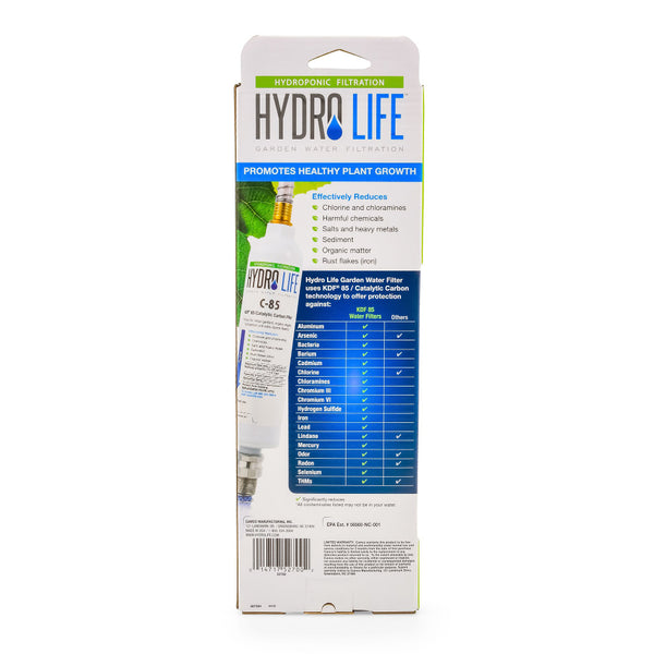 hydrolife c-85 kdf 85 catalytic carbon water filter with non-kink flexible hose protector box back rocky mountain bioag