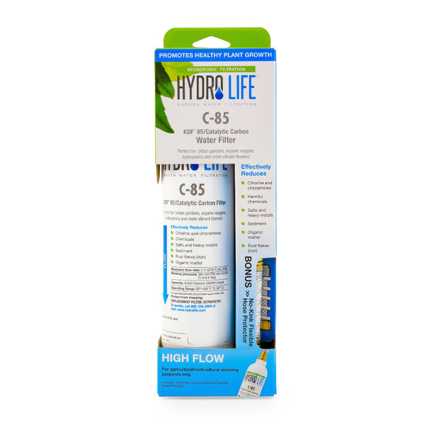 hydrolife c-85 kdf 85 catalytic carbon water filter with non-kink flexible hose protector box front rocky mountain bioag