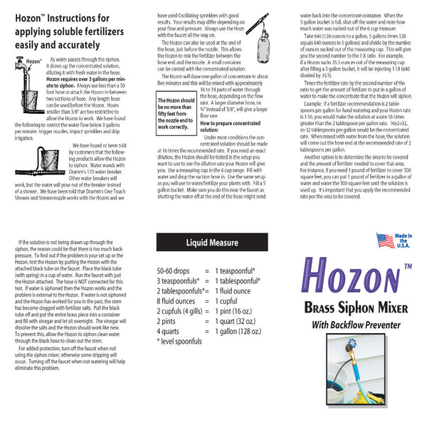 Hozon Brass Siphon Mixer With Backflow Preventer Operation Instructions - Rocky Mountain Bio-Ag