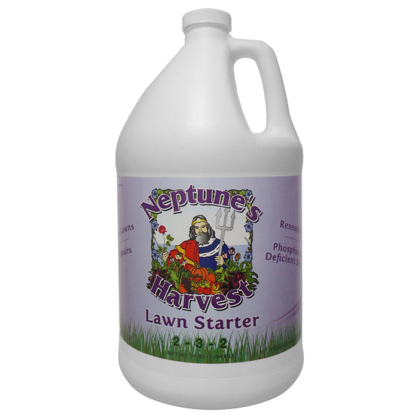 1 Gallon, 128 Ounce Neptune's Harvest Lawn Starter Fertilizer 2-3-2 Fish Hydrolysate, Seaweed, Yucca Extract, Molasses, Humic Acid - Rocky Mountain Bio-Ag