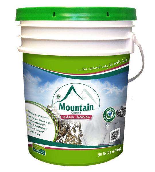 mountain organic natural pet safe eco friendly ice melt 50 pound bucket - rocky mountain bioag