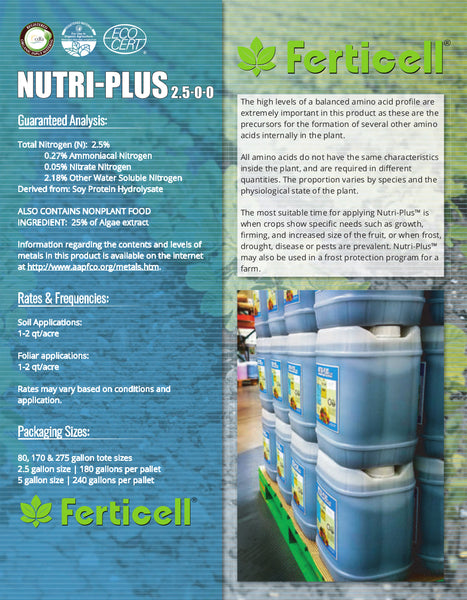 ferticell usa nutri-plus 2.5-0-0 organic fertilizer info sheet page two rocky mountain bioag
