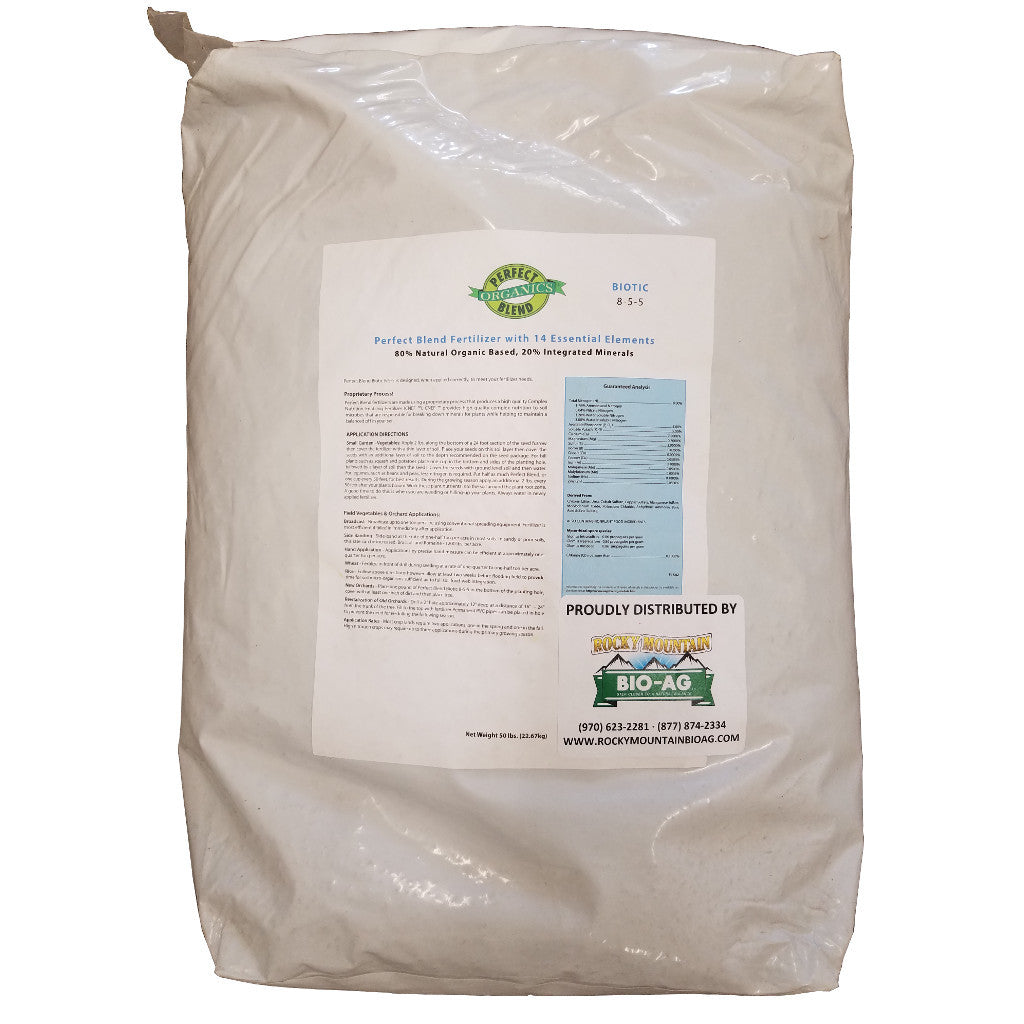 Perfect Blend Biotic 8-5-5 Fertilizer 50 Pound - 22.67 Kilogram Bag - Rocky Mountain Bio-Ag