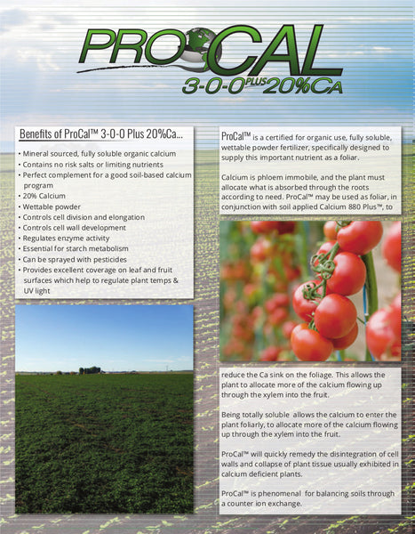 ferticell usa procal 3-0-0 plus 20% calcium organic fertilizer info sheet page one rocky mountain bioag