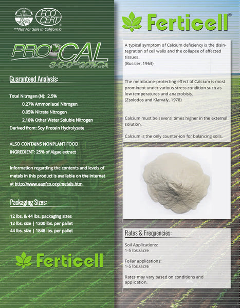 ferticell usa procal 3-0-0 plus 20% calcium organic fertilizer info sheet page two rocky mountain bioag
