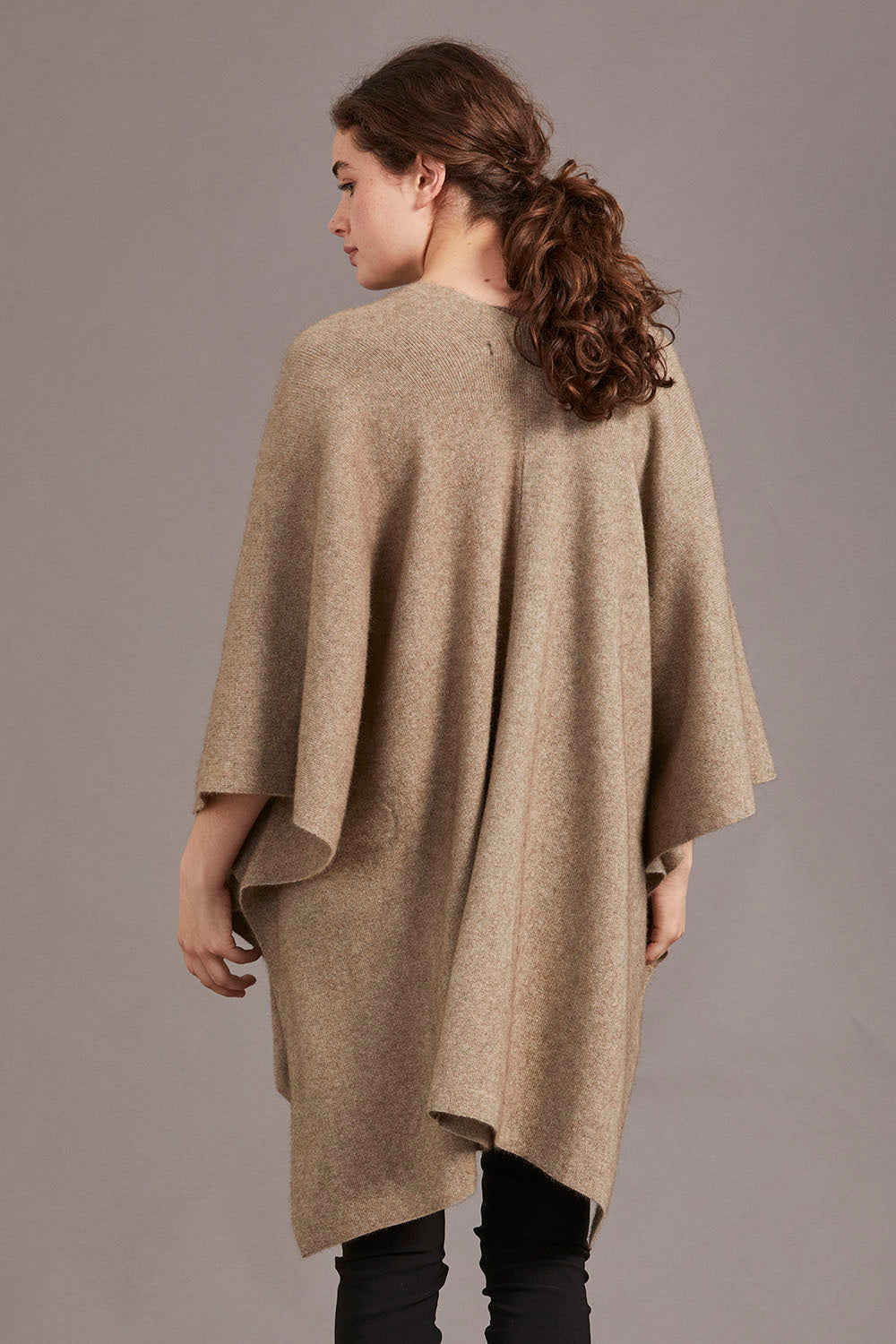 Possum Merino Cape with Button Detail