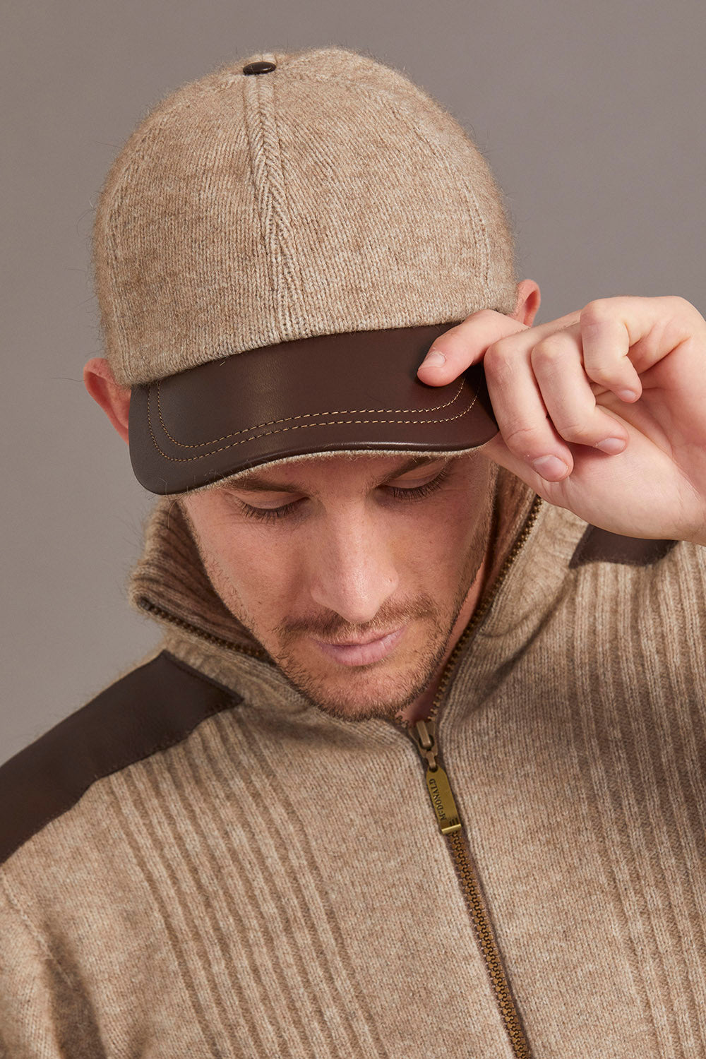 Possum Merino Leather Peak Cap