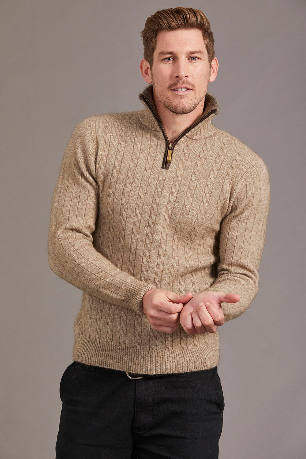 Possum Merino Cable Jersey with Contrast Trim