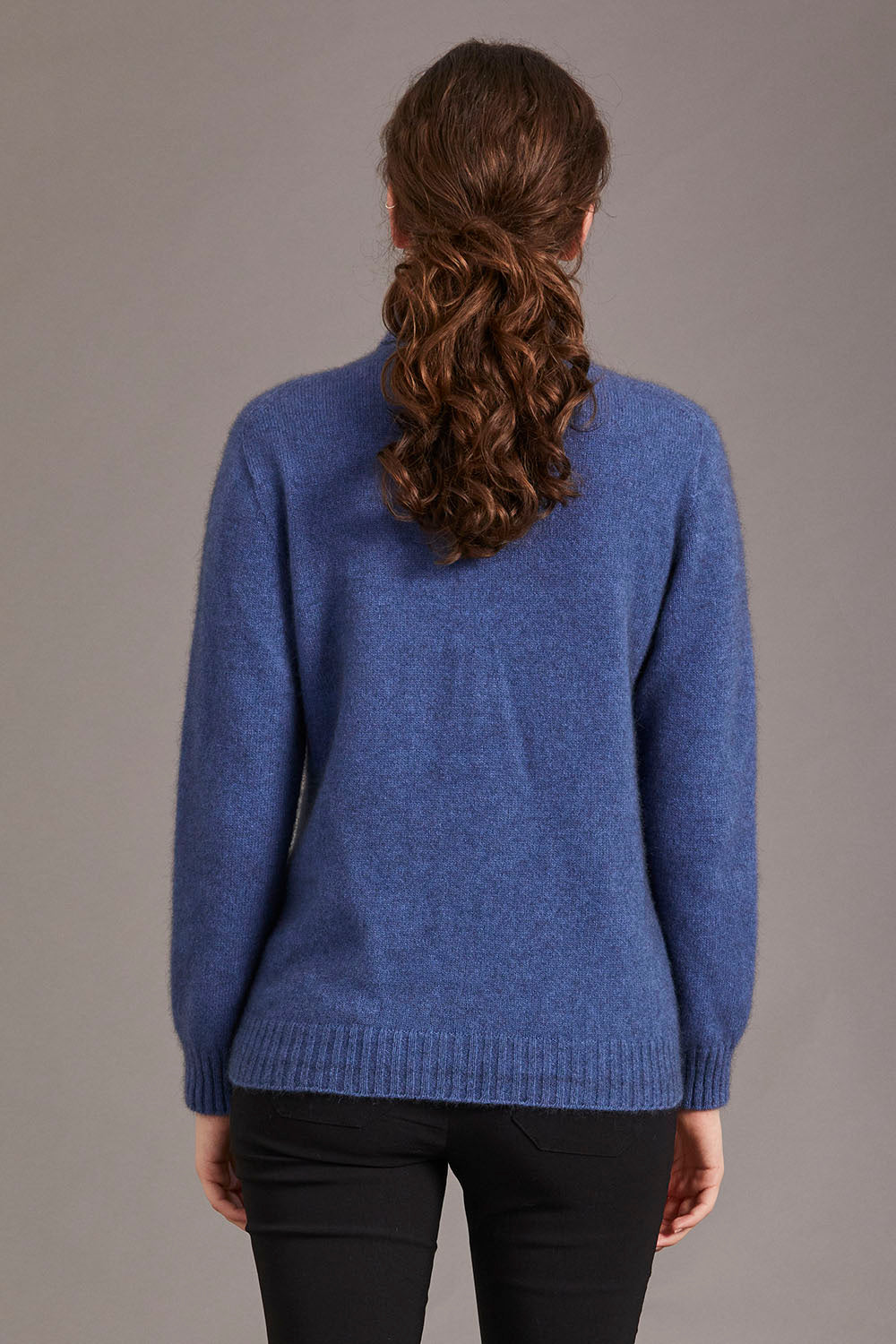 Possum Merino Polo Neck Jersey with Lace Detail