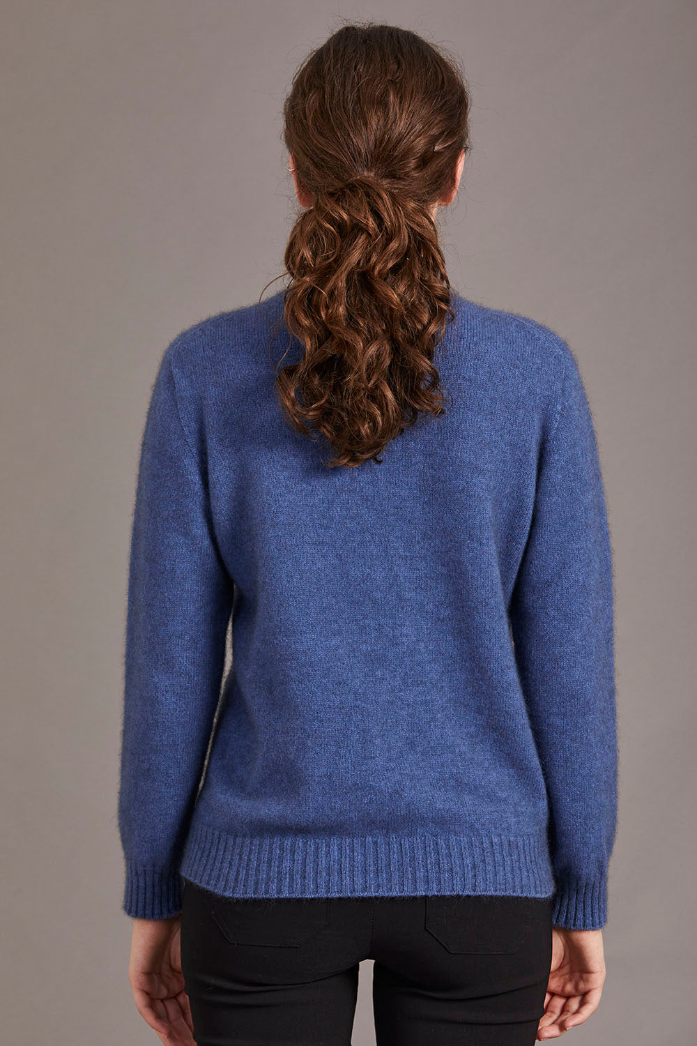 Possum Merino Crew Neck Jersey with Lace Detail