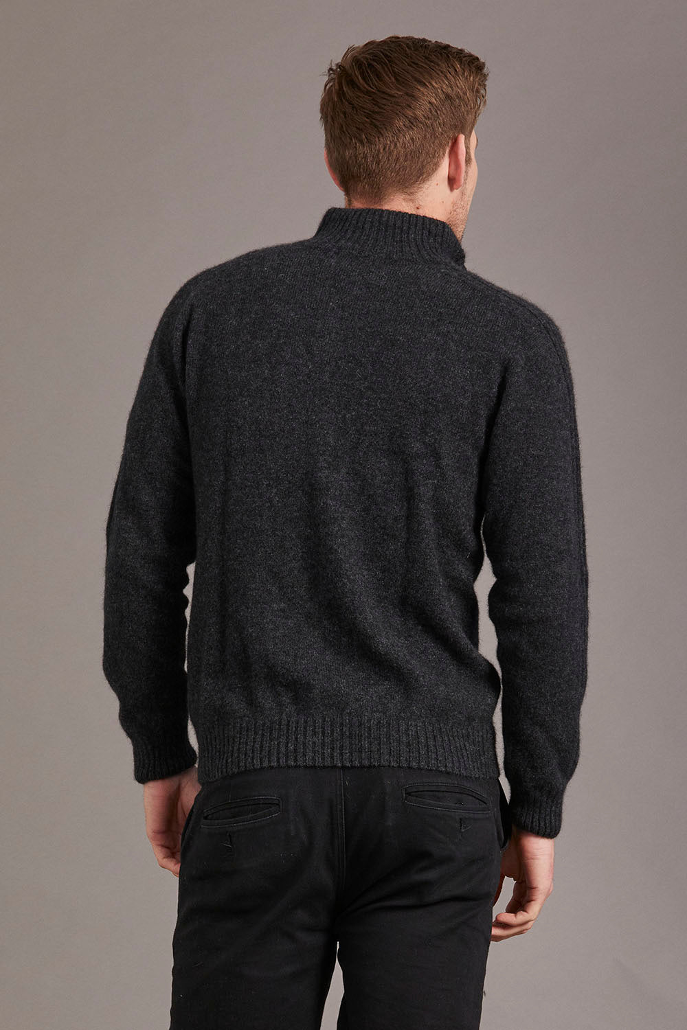 Possum Merino Short Zip Rib Sleeve Sweater