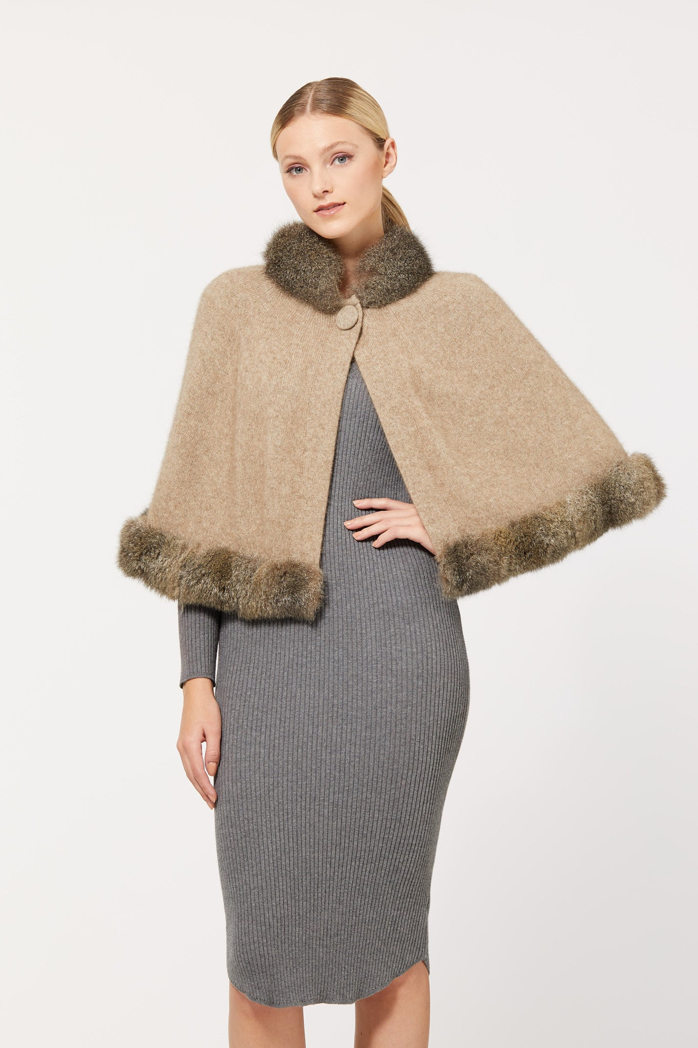 Possum Merino Fur Trim Cape