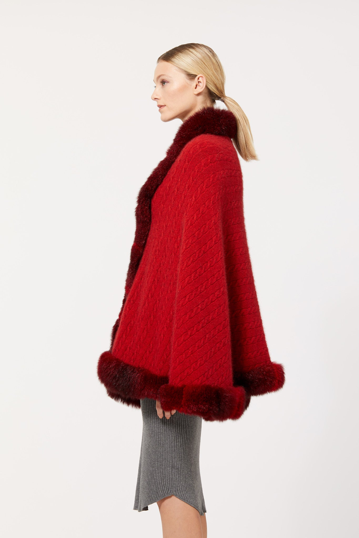 Possum Merino Cable Cape with Fur
